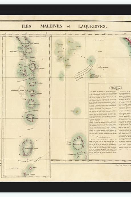 Old Map of Maldives Islands 1827