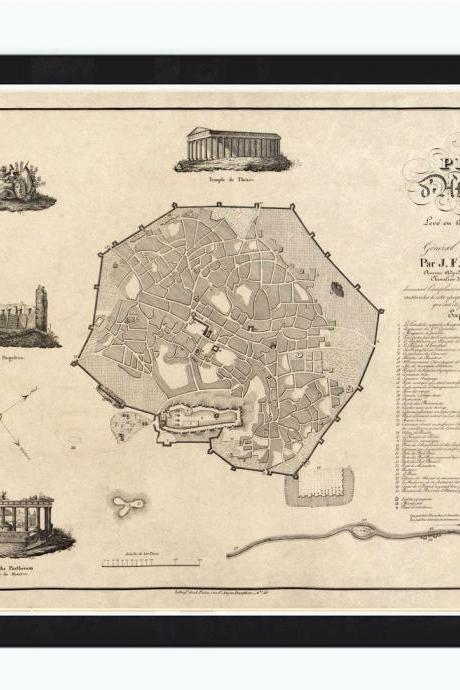Old Map of Athens Greece 1826