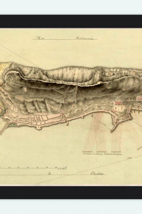 Old Map of Gibraltar Spain 1800