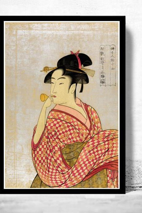 Japanese Art, Utamaro Young lady blowing on a poppin, 1790