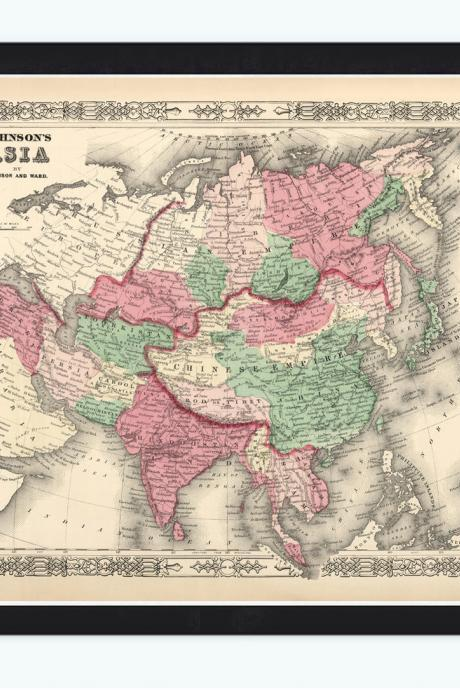 Old Map of Asia, India, China & South East Asia, 1865