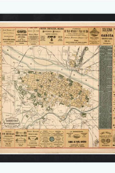 Old Map of Zaragoza Spain 1883 Vintage map