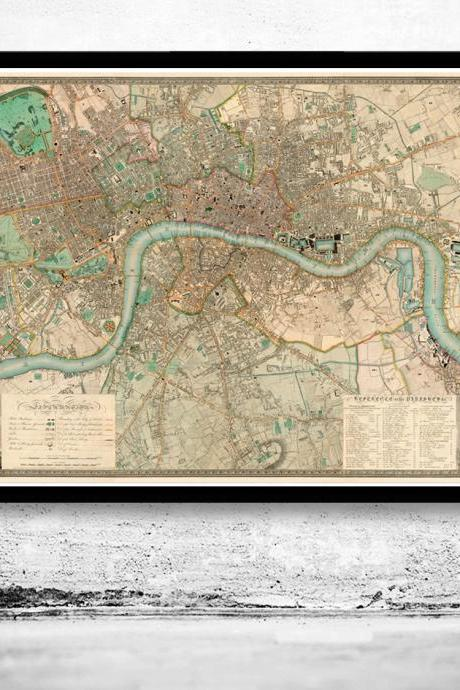 Victorian Old London Map 1830, England