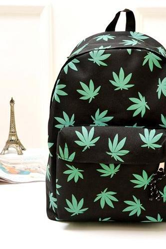 Leaf Print Canvas Backpack In 4 Colors