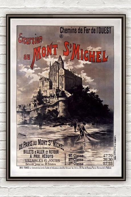 Vintage Poster of Mont St Michel France 1895