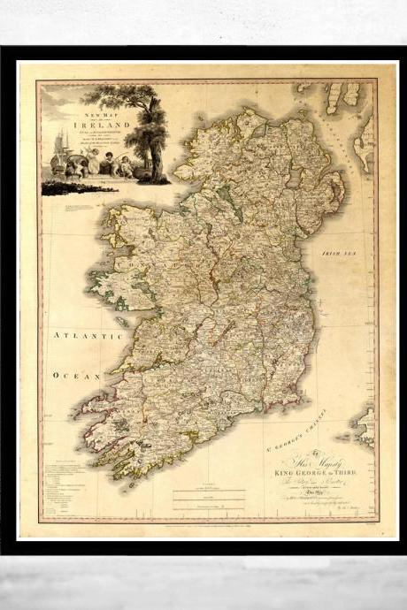 Old Map of Ireland 1797 Beautiful map of Ireland