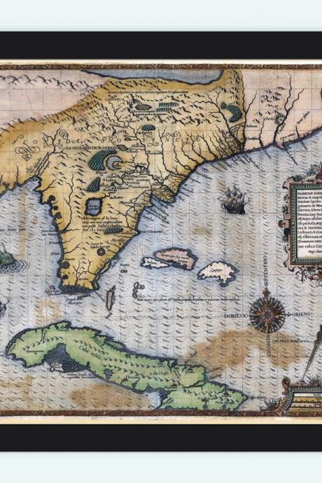 Old Map of Florida and Caribbean Area 1588