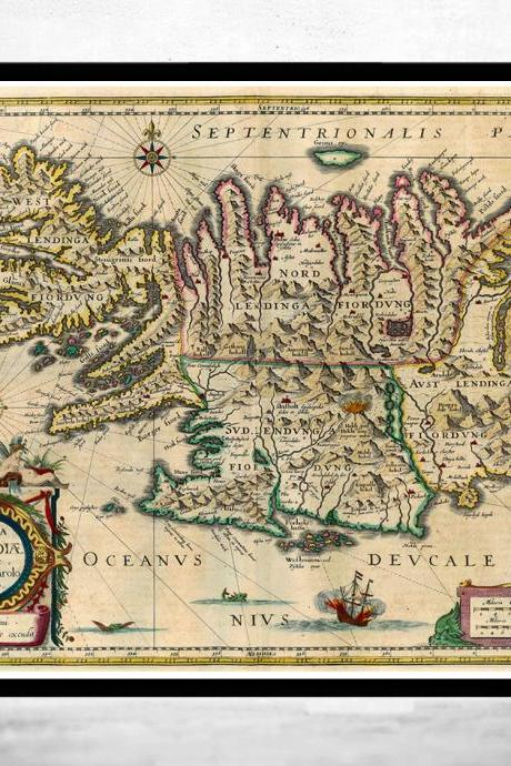 Old Map of Iceland islandia 1662 Antique map