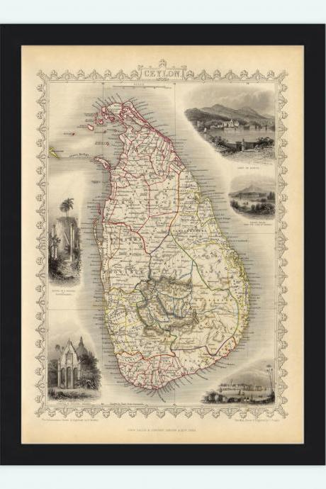 Old Map of Sri Lanka, Old Ceylon 1851