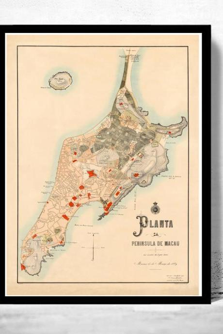 Old Map of Macau Macao 1889 China