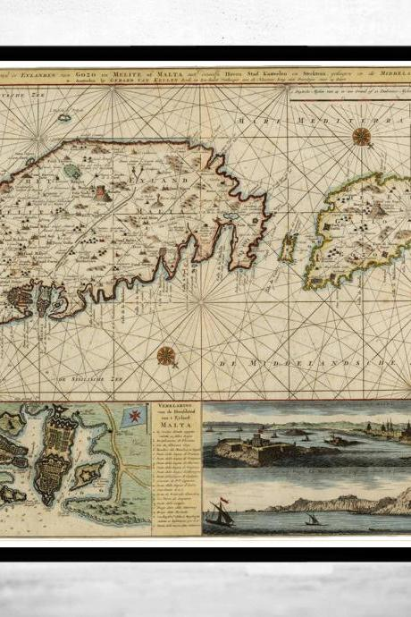 Old Map of Malta Island 1734 medieval engraving