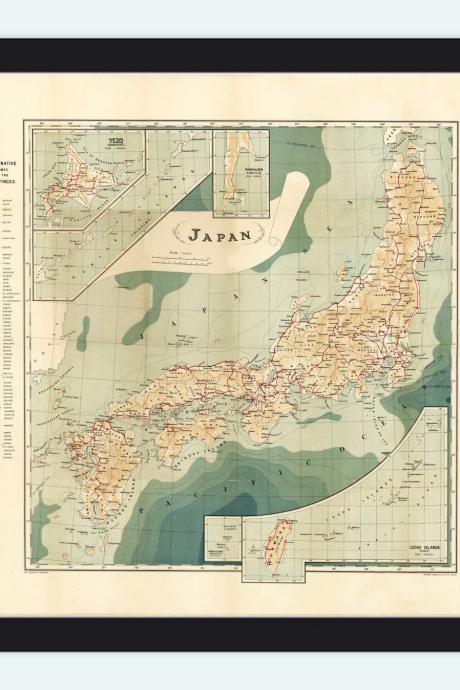 Vintage Map of Japan 1913 Antque map