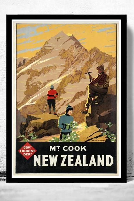 Vintage Poster of New Zealand Mt Cook Tourism poster travel