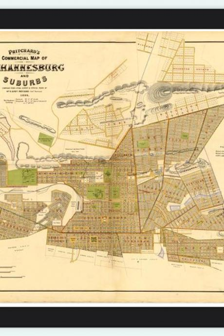 Old Map Johannesburg California 1896