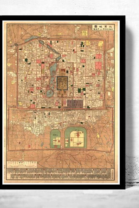 Vintage Map of Beijing China Peking