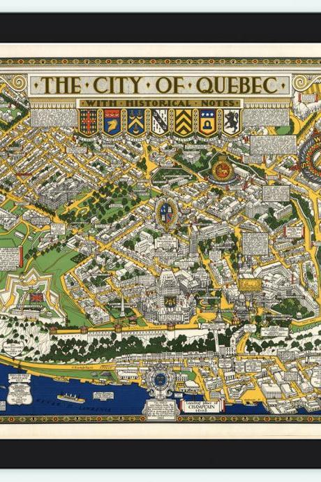 Old Map of Quebec City, Canada Pictorial Map
