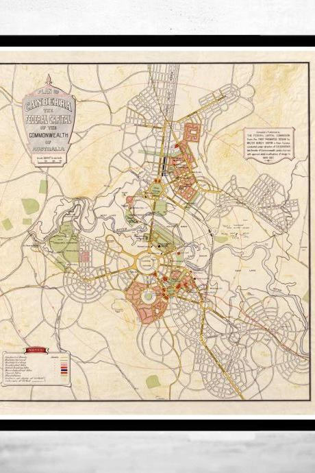 Vintage Map of Canberra City , Australia Oceania 1927