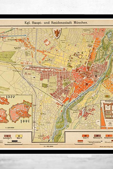 Old Map of Munich Munchen with gravures, Germany Deutshland 1890