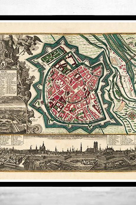 Old Map of Munich Munchen Munster Germany Deutshland 1740