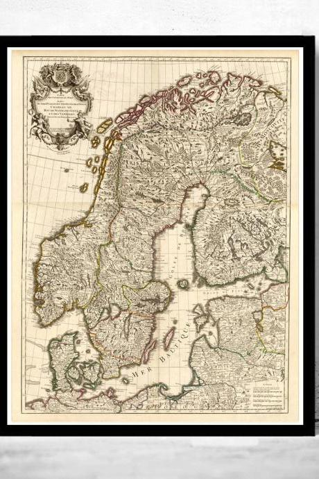 Old Map of Sweden and Norway 1706