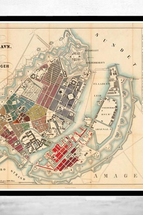 Old Map of Copenhagen Denmark 1853 , City Plan Vintage Map
