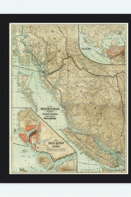 Old Map of British Columbia 1910 Canada