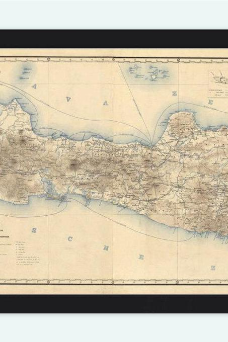 Old Map of Java and Madura Islands Indonesia 1878