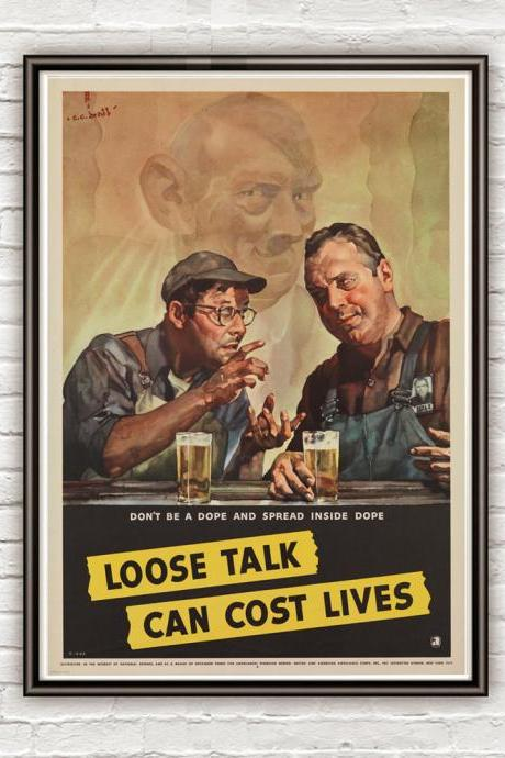 Vintage War Poster loose talk can cost lives (2) 1942