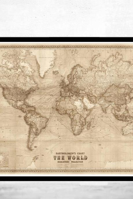 Beautiful World Map Vintage Atlas 1914 Mercator projection SEPIA