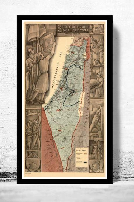 Old Map of Israel , Middle East, Religious