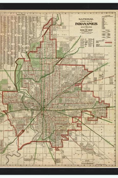 Old Map of Indianapolis 1921
