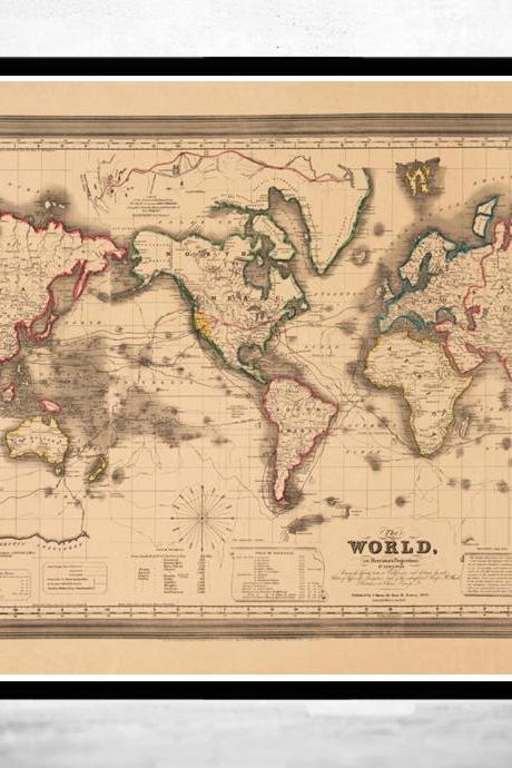 Old World Map Atlas Vintage World Map 1850 Mercator projection