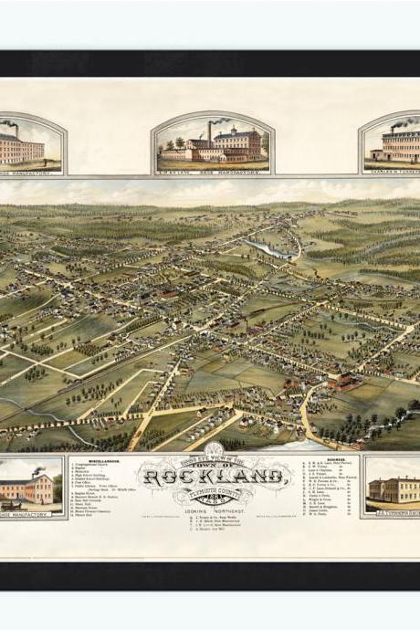 Birdseye View of Rockland Massachusetts 1881, Panoramic view