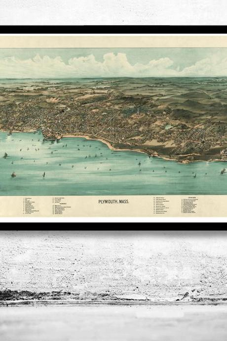 Birdseye View of Plymouth Massachusetts 1910, Panoramic view