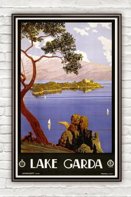 Vintage Poster of Lake Garda Italy Italia 1924 Tourism poster travel