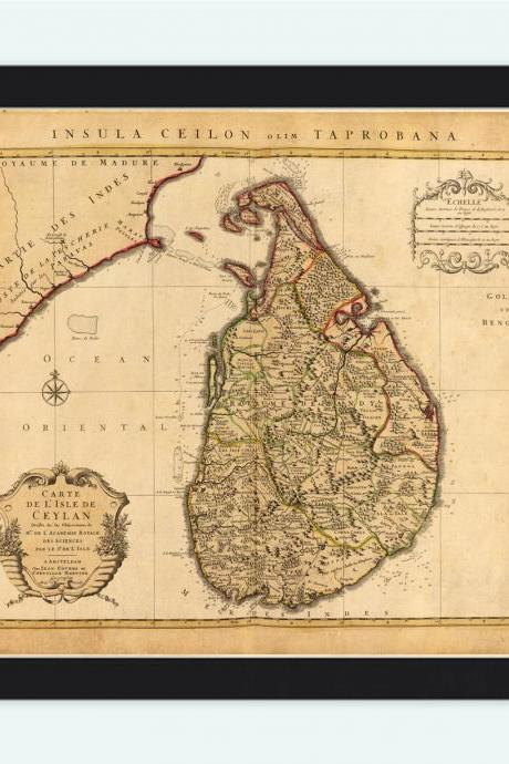 Old Map of Sri Lanka, Old Ceylon 1742