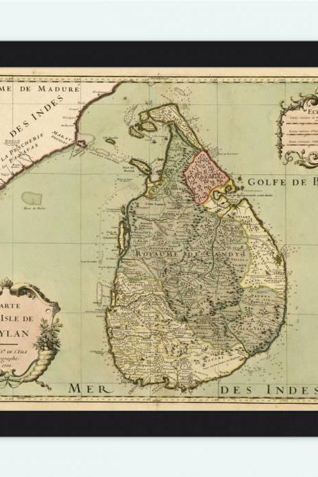 Old Map of Sri Lanka, Old Ceylon 1700