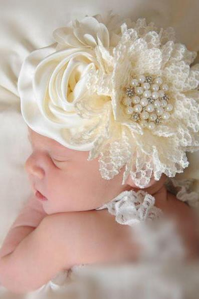 Cute Photography Props for Baby Girls Wide Headbands Flower Tiaras for Newborn Girls-Cream Ivory Flowers