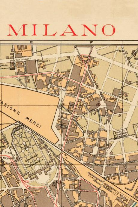 Old Map of Milan Milano, City Plan Italia 1910 Antique Vintage Italy