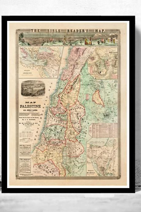 Bible Readers Map Palestine Jerusalem, 1873, Middle East, Religious, Thematic