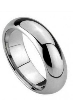 Wedding Band, Tungsten Carbide Polished Shiny Domed Ring 5.5mm