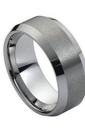 Tungsten Carbide Ring Brushed Center High Polish Beveled Edge 8mm