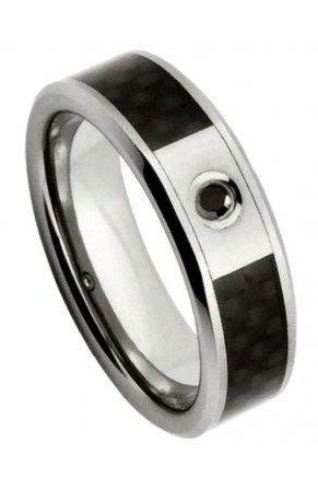 Tungsten Carbide Ring with 0.04ct BLACK DIAMOND center stone with Black Carbon Fiber Inlay 6mm