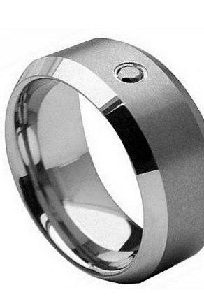 Tungsten Carbide Ring with 0.04ct Black Diamond Center Stone 8mm