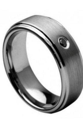 Tungsten Carbide Ring with 0.04ct Black Diamond Center Stone 9mm