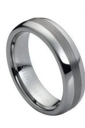 Tungsten Carbide Ring with Polished Shiny with Brushed Center 6mm