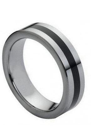 Tungsten Carbide Ring with Black Rubber Inlaid Center 6mm
