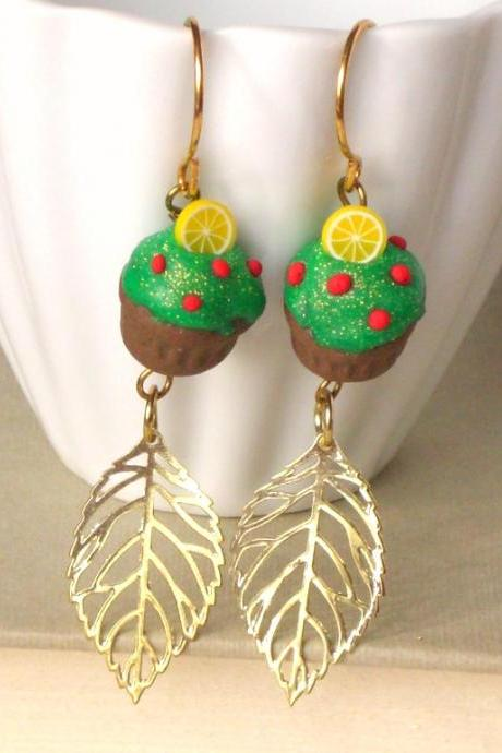 Christmas tree cupcake earrings, in green, red, yellow and brown, gold filled, polymer clay food