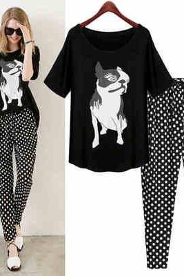 Add fat increase the code women's 2015 spring and summer new fat mm Europe and the United States and Europe loose printed T-shirt wave point Haren pants suit into