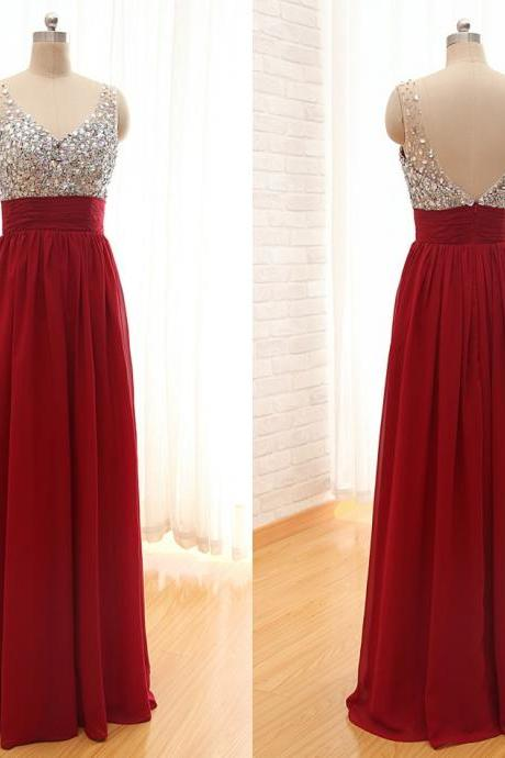 Custom Made Red Prom Dress,Long Prom Dresses,Chiffon Prom Dresses with Crystals Beaded,Drsses For Prom,2015 Prom Dresses